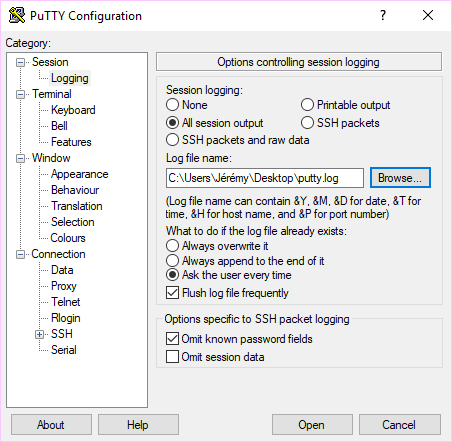 Change Putty default settings - Jérémy Verda's IT Blog